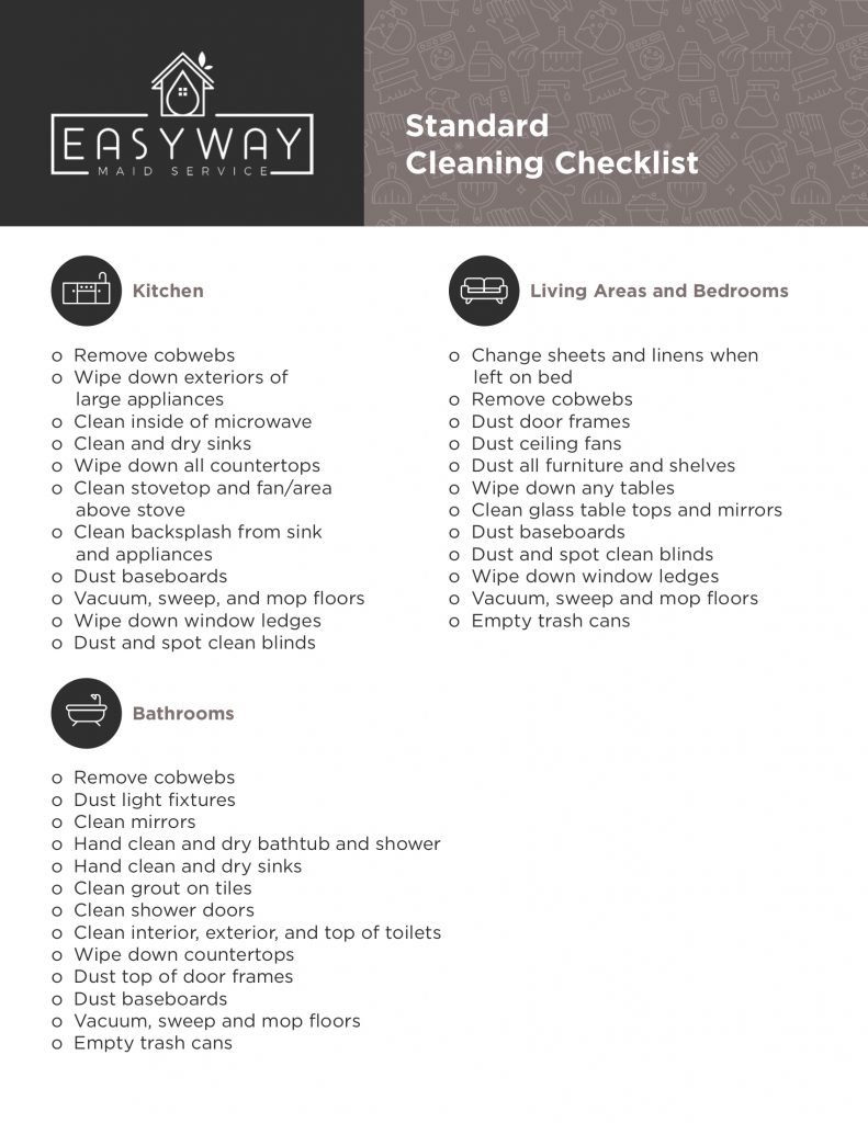 Standard Cleaning Checklist Easyway